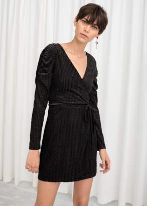 And other stories Glitter Stripe Velvet Wrap Dress