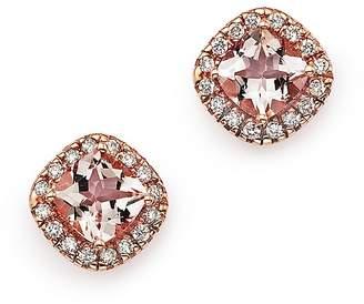 Bloomingdale's Morganite Cushion Cut and Diamond Stud Earrings in 14K Rose Gold - 100% Exclusive