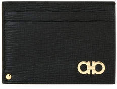 Salvatore Ferragamo Men's Revival Gancini Leather Card Case with Flip-Out ID Window, Black