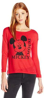 Disney Women's Mickey Women's High-Low Hacci Roll Cuff Pullover