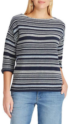 Chaps Petite Striped Cotton-Blend Sweater