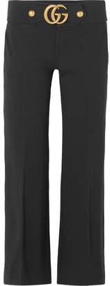 Gucci Embellished Crepe Flared Pants - Black