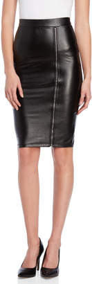 Shinestar Faux Leather Zip Pencil Skirt