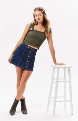 Kendall & Kylie Ruffle Smocked Crop Top