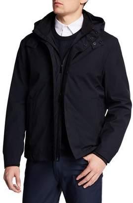 Emporio Armani Men's Nylon Bomber Jacket with Hood