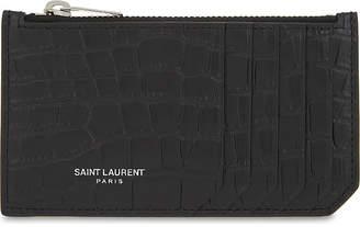 Saint Laurent Crocodile-embossed leather card pouch