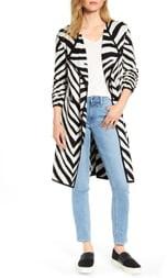 Vince Camuto Zebra Stripe Drape Lapel Jacquard Cardigan