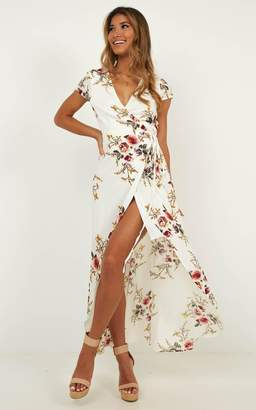Showpo Wrap and Cross maxi dress in white print - 14 (XL) Dresses