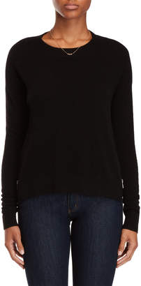Vertical Design Cashmere Zip Vent Sweater