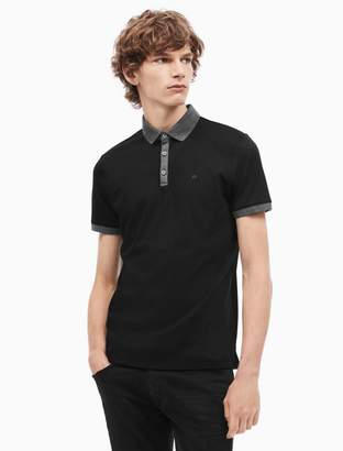 Calvin Klein slim fit liquid cotton contrast polo shirt