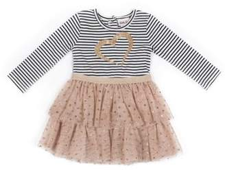 Little Lass Graphic Stripe and Tulle Dress (Little Girls)