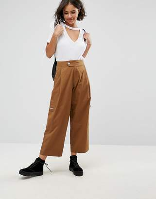 Asos DAPHNE Casual Cropped Pants with Zip Detail in Tan
