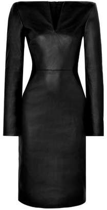 Gareth Pugh Leather And Stretch-knit Midi Dress