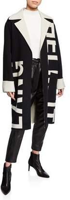 Helmut Lang Logo Jacquard Oversized Wool Coat