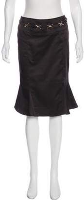Just Cavalli Pleat-Accented Knee-Length Skirt Black Pleat-Accented Knee-Length Skirt