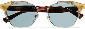 Valentino Cat-eye Acetate And Gold-tone Sunglasses - one size