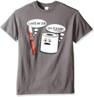 T Line T-Line Men's Funny Shirt Hate My Job Toothbrush Graphic T-Shirt Grey Small