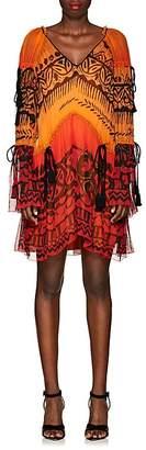 Alberta Ferretti Women's Abstract-Print Silk Chiffon Dress