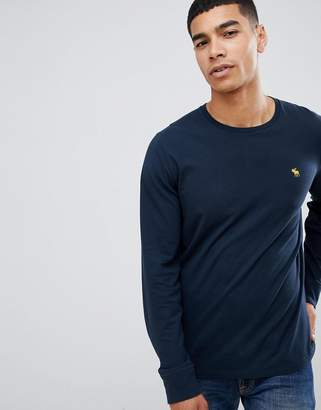 Abercrombie & Fitch pop icon logo long sleeve top in navy