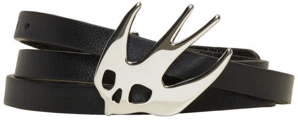 Black and Silver Swallow Triple Wrap Bracelet