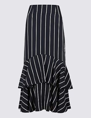 M&S Collection Striped Fishtail Midi Skirt