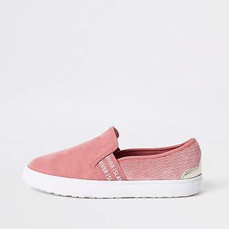 River Island Pink RI branded slip on plimsolls