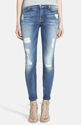 7 For All Mankind ® Destroyed Ankle Skinny Jeans (Distressed Authentic Light) $229 thestylecure.com