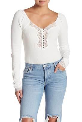 Free People To The West Ribbed Lace Insert Long Sleeve Top