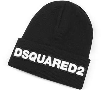 DSQUARED2 Embroidered Logo Black Wool Beanie