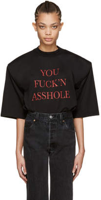 Vetements SSENSE Exclusive Black You Fuckn Asshole Football Shoulder T-Shirt