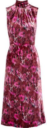Prada - Floral-print Velvet Midi Dress - Pink