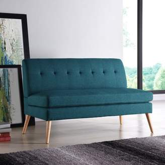 Homesvale Kersey Mid Century Modern Armless Loveseat in Caribbean Blue Linen with Natural Legs