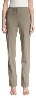 Lafayette 148 New York Barrow Straight-Leg Stretch-Wool Suiting Pants, Cobblestone $348 thestylecure.com