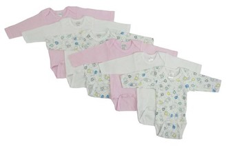Bambini Girls' Long Sleeve Printed Onesie Variety 6 Pack
