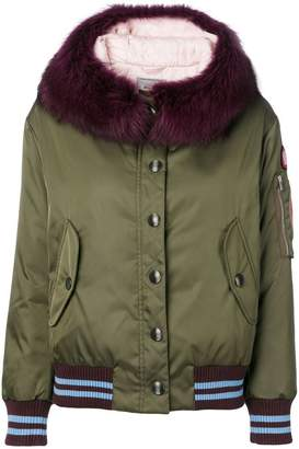 Miu Miu fur-trimmed hooded padded jacket