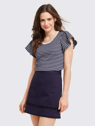 Draper James Stripe Flutter Sleeve Tee