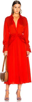 Victoria Beckham Twist Yoke Midi Dress