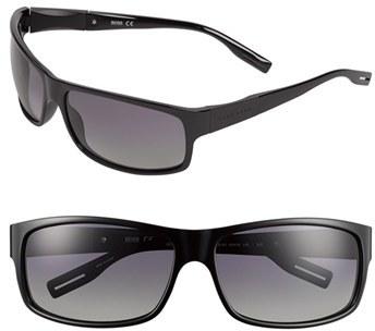 BOSS Men's 65Mm Polarized Sunglasses - Shiny Black
