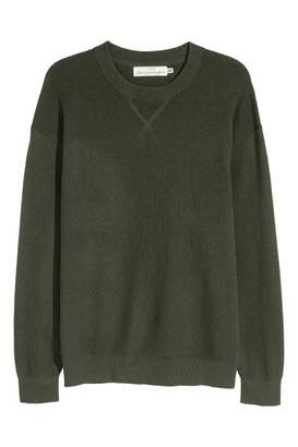 H&M Textured-knit Cotton Sweater - Dark blue - Men