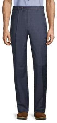 Zanella Check Tab-Button Wool Trousers