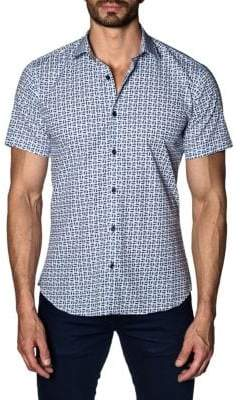 Jared Lang Printed Cotton Button-Down Shirt