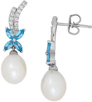 Tag Heuer FINE JEWELLERY 7-8MM Freshwater Pearl, Blue Topaz, White Topaz and Sterling Silver Drop Earrings