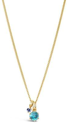 Dinny Hall Gold Gem Drop Tanzanite Swiss Blue Topaz Pendant Necklace