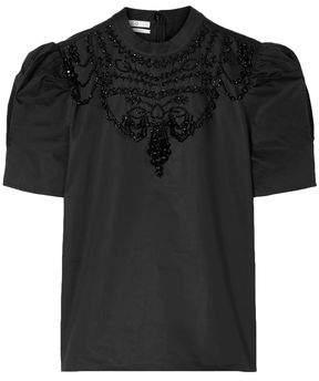 Co Bead-embellished Cotton-poplin Top