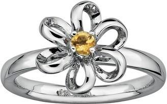 Stacks & Stones Sterling Silver Citrine Flower Stack Ring