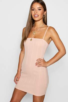 boohoo Petite Square Neck Bandage Bodycon Dress