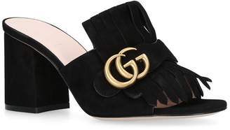 Gucci Suede Fringed Marmont Mules 75
