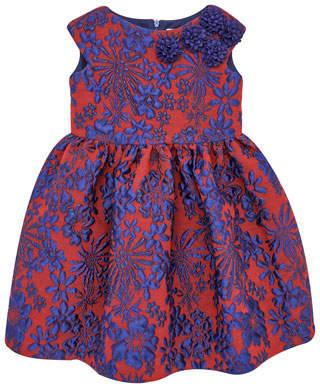 Carrera Pili Floral Jacquard Cap-Sleeve Dress w/ Rosettes, Size 4-10