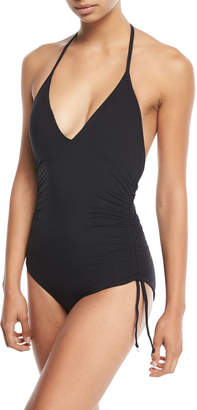 Seafolly Active Deep-V Ruched-Side Halter Maillot One-Piece Swimsuit