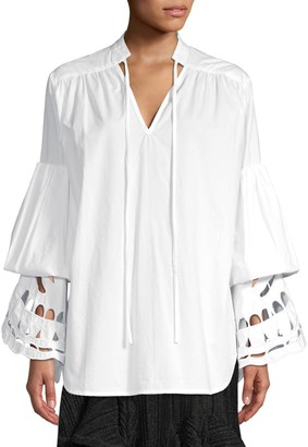 Romance Was Born Broderie Bell Sleeve Tiered Eyelet Tunic